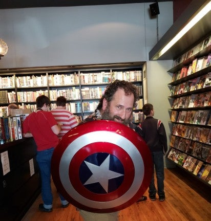 AmurEF Employee Mike Rath with Captain America Shield